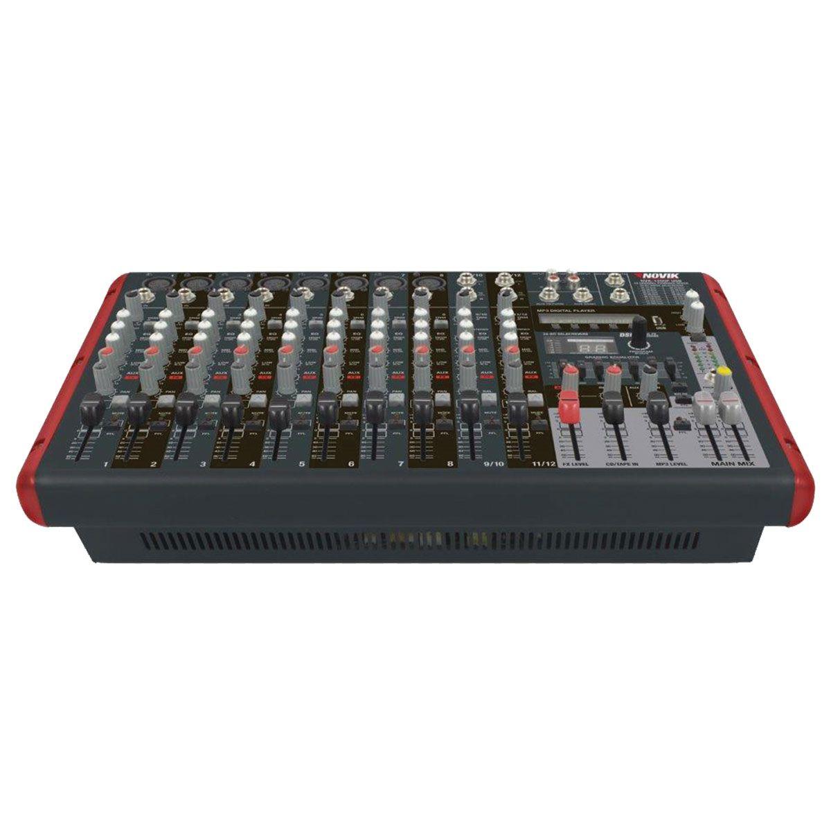 Mesa De Som Amplificada 600w Rms 12 Canais Com Bluetooth Nknvk1200pbt