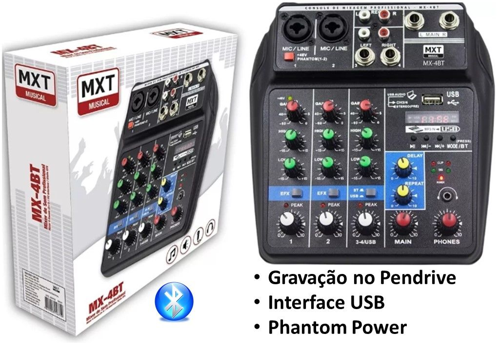 Mesa Som Mxt Mx4bt 4 Canais Efx Usb Bluetooth Pc Interface