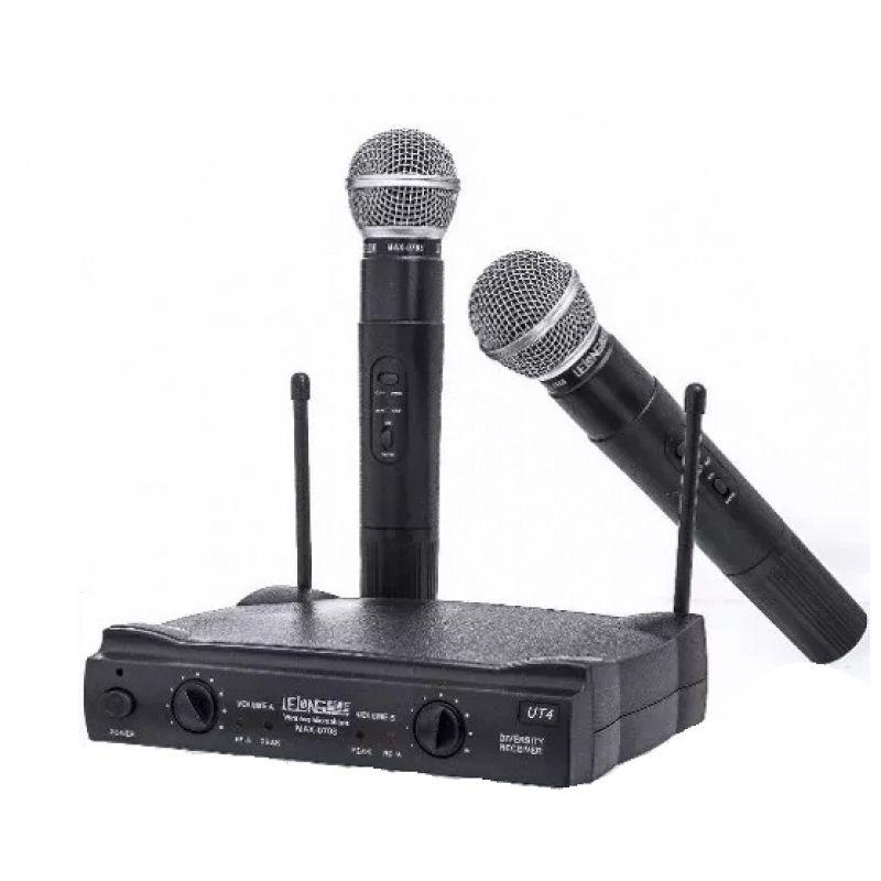 Microfone Duplo Profissional Dinâmico UHF bivolt