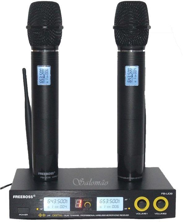 Microfone Profissional duplo sem fio com 8 efeitos de voz