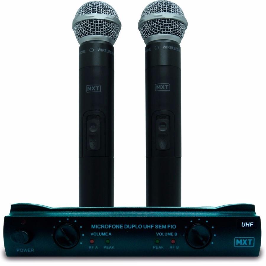 Microfone sem fio duplo com case UHF