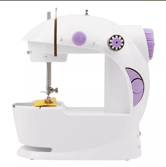 Mini Máquina De Costura Portátil Bivolt Luz Pedal Bobinas