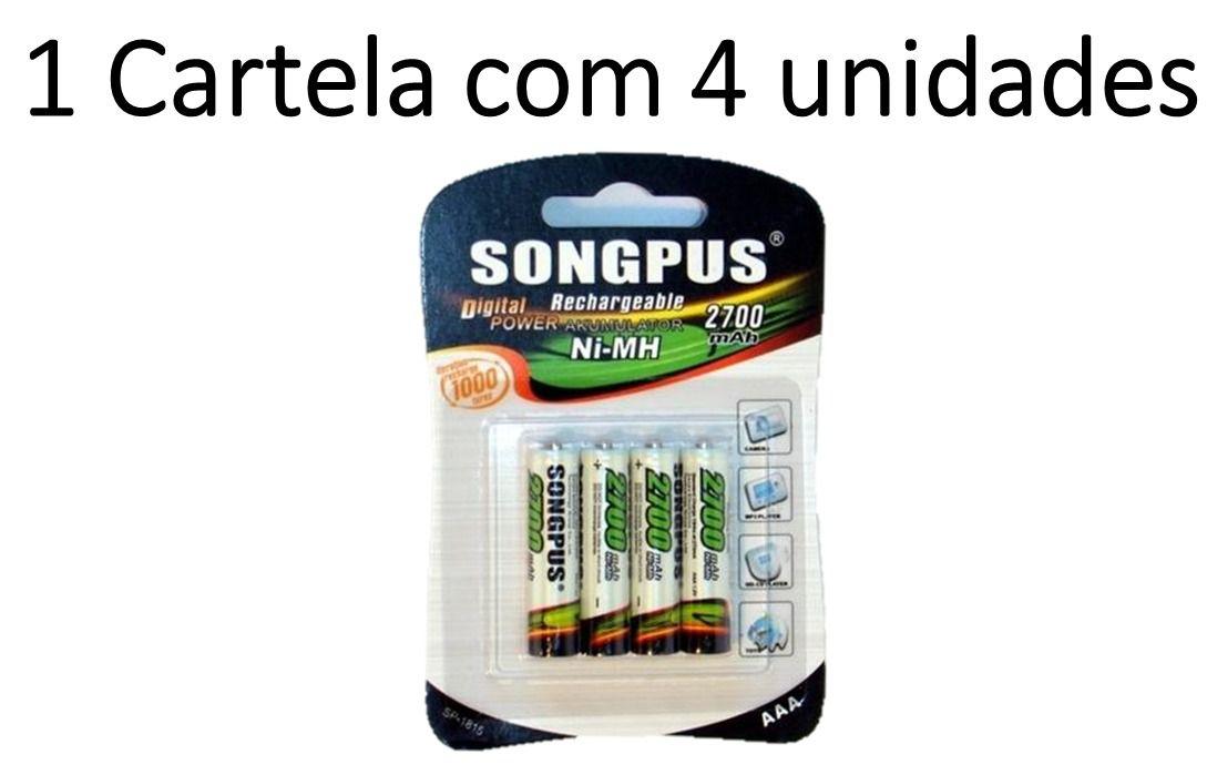 Cartela com 4 pilhas palito Recarregável AAA Songpus