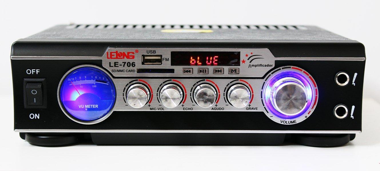 Receiver Amplificador de som com 2 canal karaokê e bluetooth