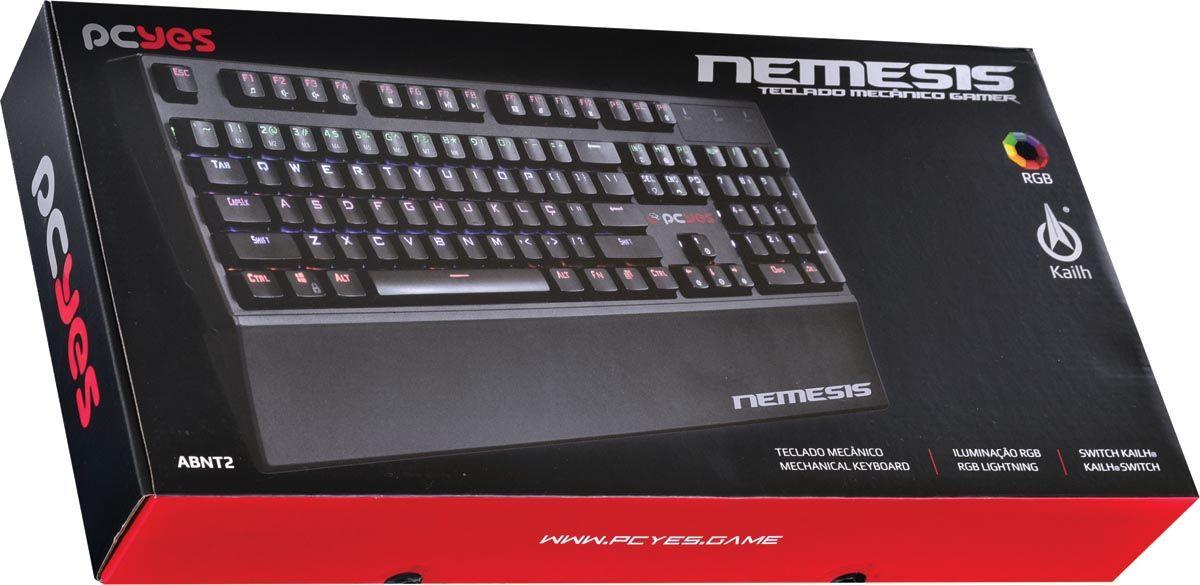 TECLADO GAMER MECANICO NEMESIS COM LED RGB - NEMMEC106PTORGB