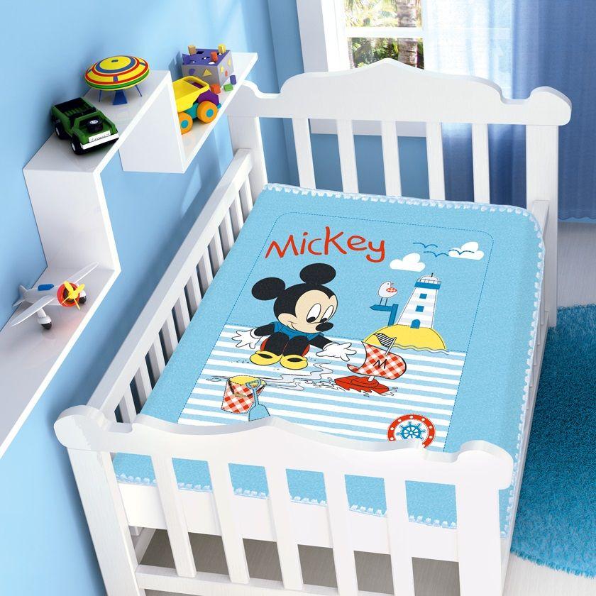 Cobertor Jolitex Infantil Berço Bebê Disney Mickey Barco Azul
