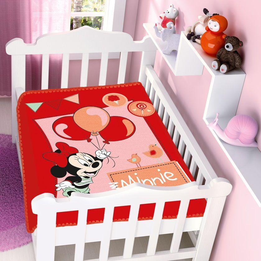 Cobertor Jolitex Infantil Berço Bebê Disney Minnie Festa Vermelho