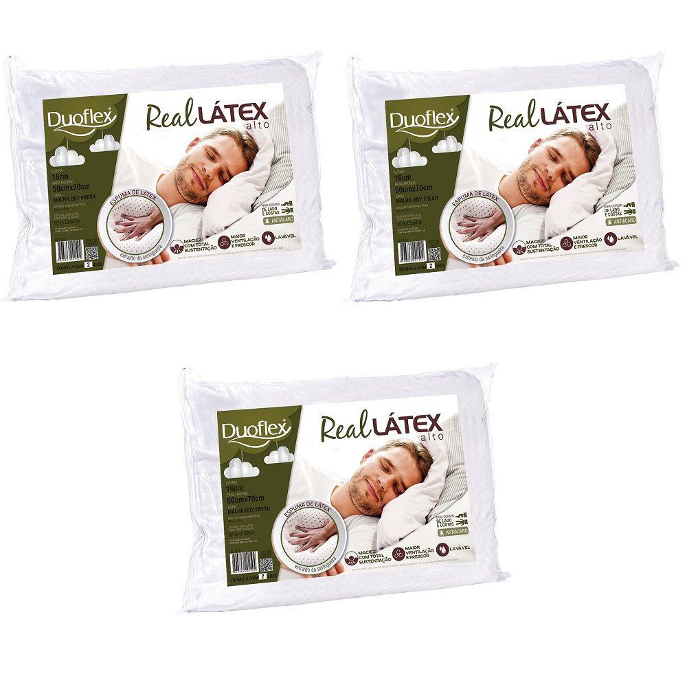 Kit 03 Travesseiros Duoflex Real Látex Capa 100% Algodão Dry Fresh 50x70x16cm