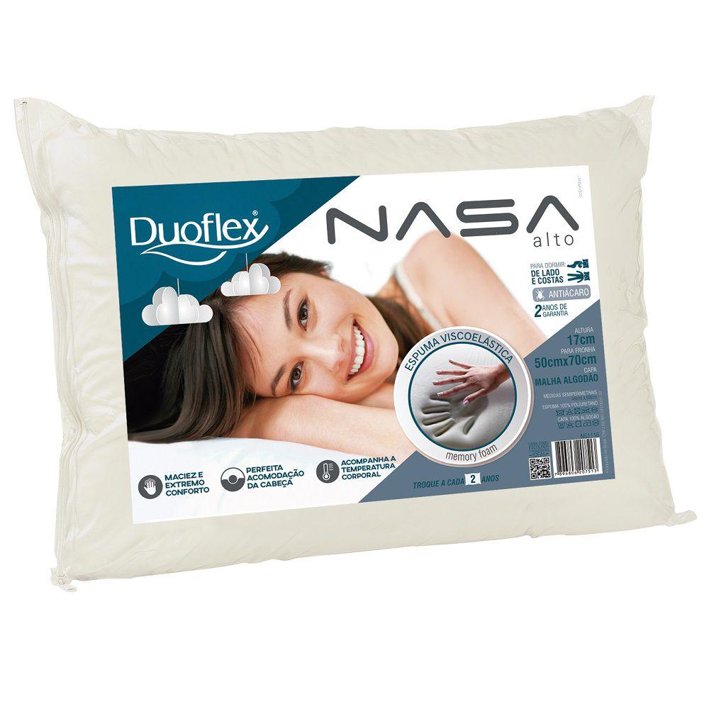 Travesseiro Duoflex Nasa Viscoelástico Alto 50x70x17cm - NS1116