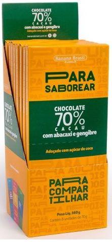 CHOCOLATE ABACAXI 70 CACAU 70G DP 8 UNI