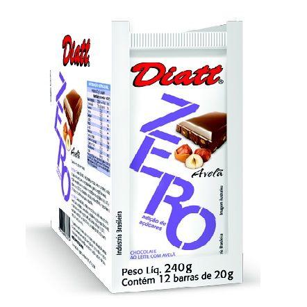 CHOCOLATE ZERO AO LEITE COM AVELA 20GR DP 12 UNID