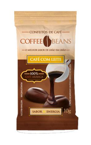 COFFEE BEANS ZERO CAFE COM LEITE 10GR DP 15 UNID