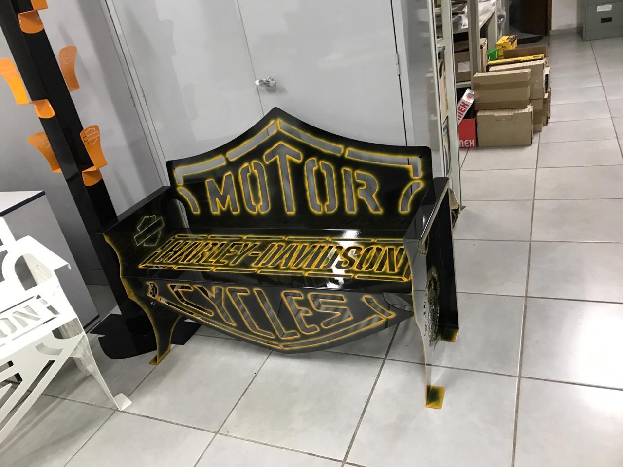 Banco Harley-Davidson 1,25m Preto com Laranja  - HDC Brasil