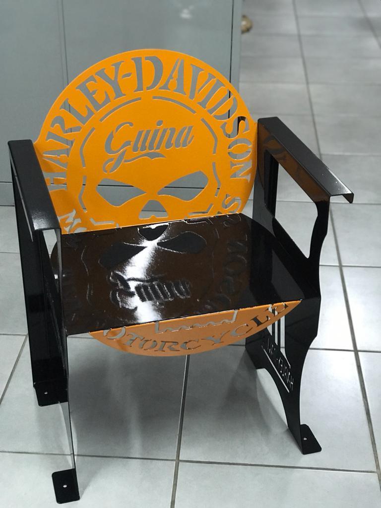 Poltrona SKULL Harley-Davidson 0,65 m Preta/Laranja  - HDC Brasil