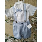 Conjunto de bermuda azul claro com camisa curta batizado 2020