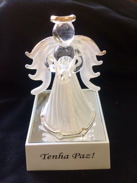 Anjinho Guarda Cristal Luminoso para batizado