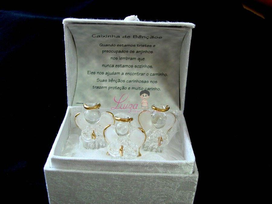 Baú com 3 anjos de cristal Batizado