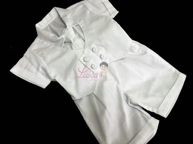 Conj. Bermuda, Camisa , Colete 4 botões e gravata tradicional Batizado