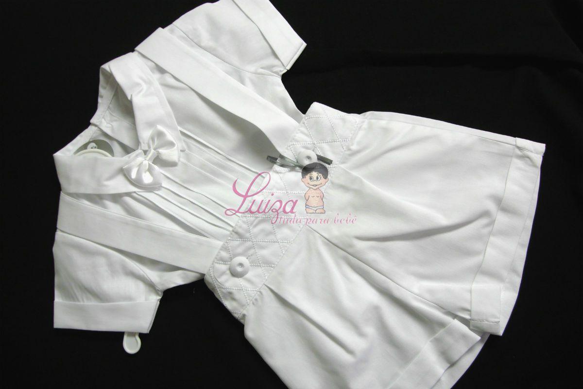 Conj. Bermuda losango, suspensório e camisa Batizado