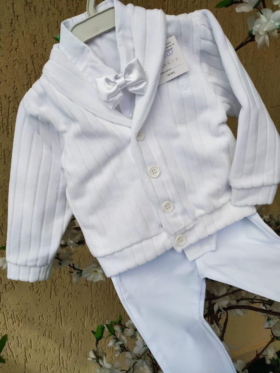 Conj. Casaco plush, camisa e calça menino batizado