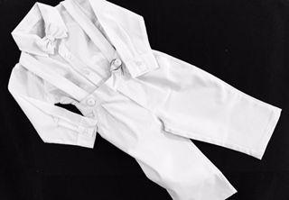 Conj. Suspensório Liso com gravata borboleta  roupa batizado menino
