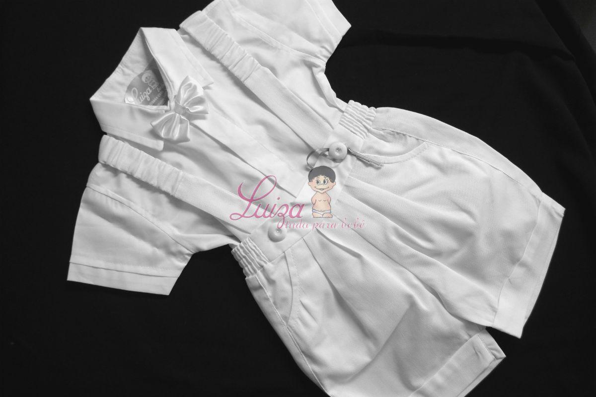 Conjunto bermuda, suspensório franzido , camisa e gravata Batizado