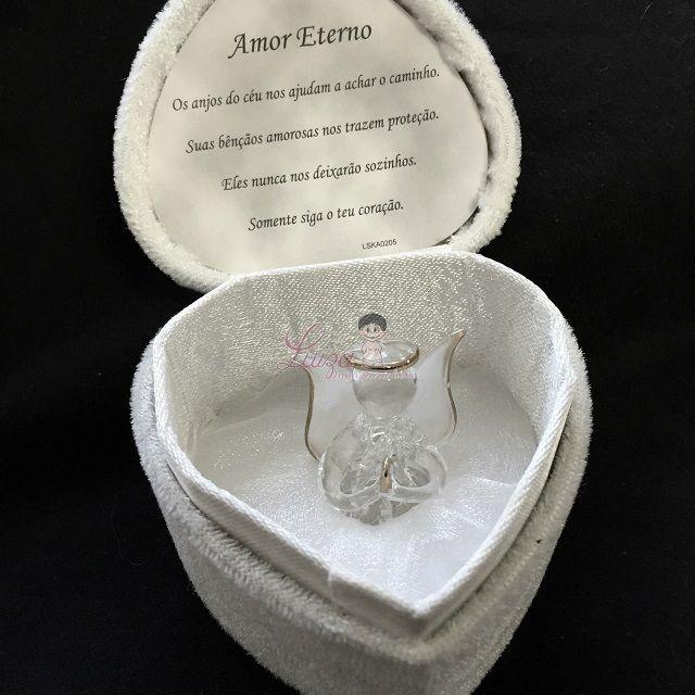 Coração com anjinho de cristal Batizado