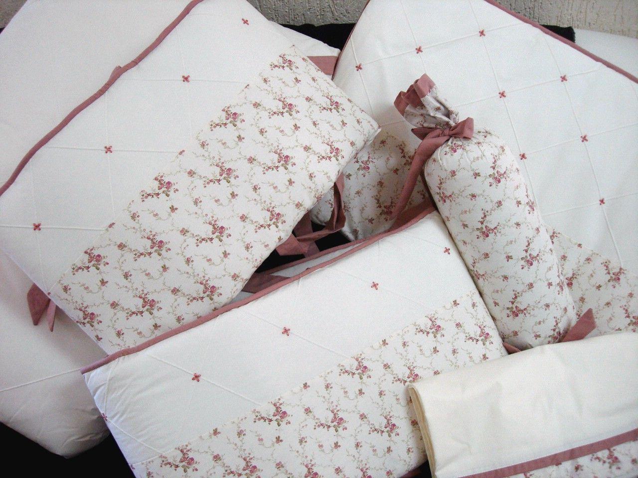 Kit Berço americano Floral Rebeca Rose fundo Marfim