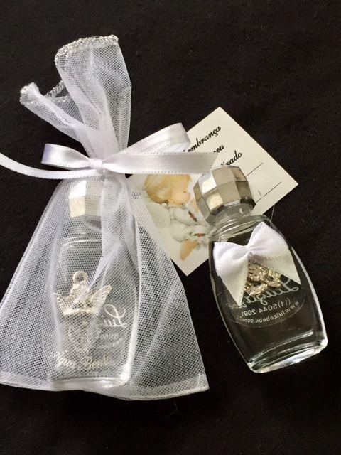 Lembrancinha batizado Vidro água benta com anjo menor