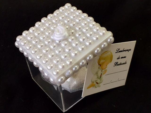 Lembrancinha Caixa com tampa de perolas batizado
