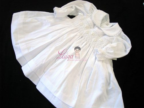 Vestido Fustão Casinha de Abelha Batizado