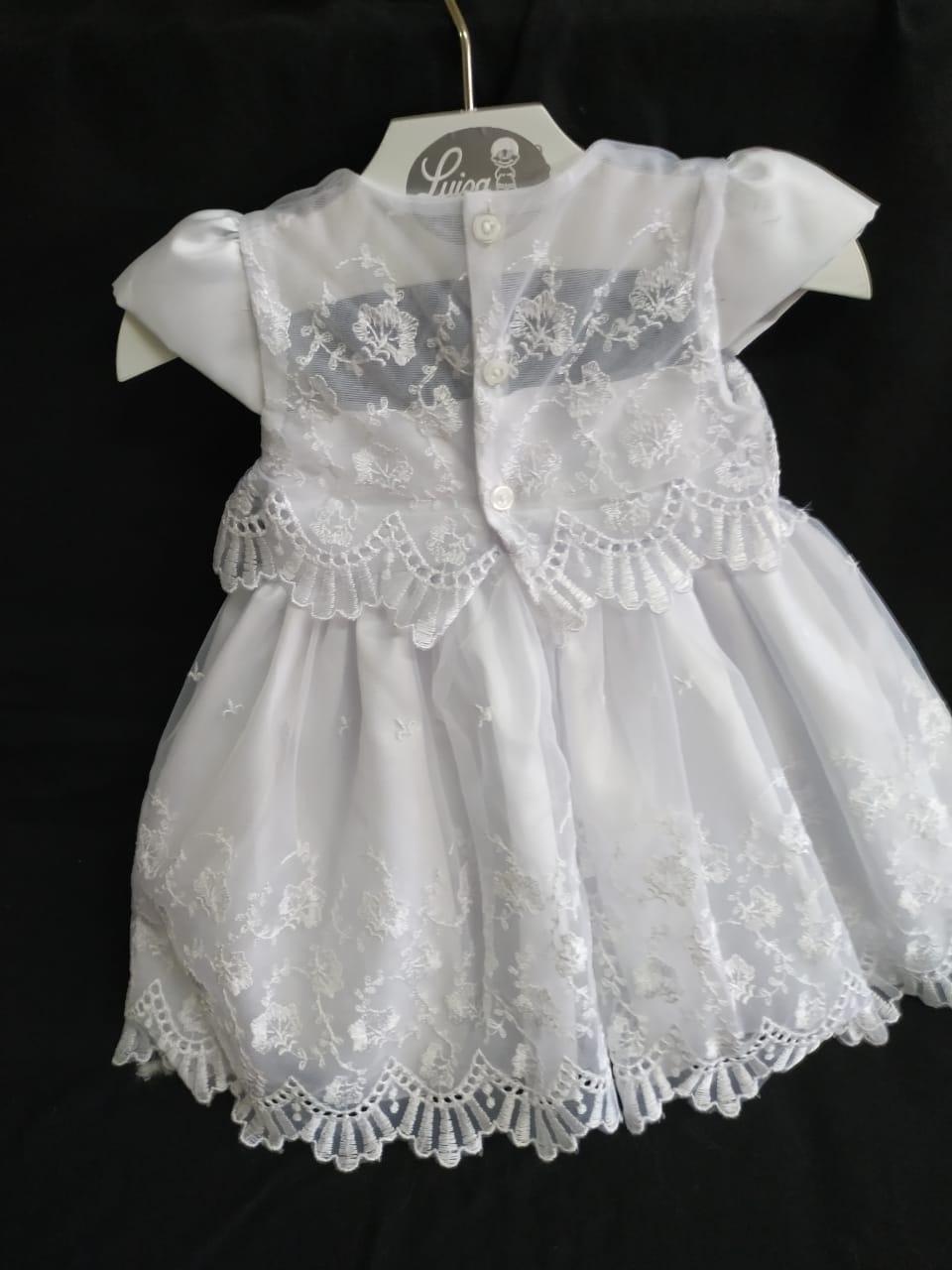 Vestido rendado batizado branco