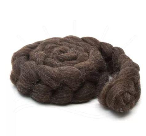 Lã Corriedale para Feltragem e Fiação - Marrom Natural - 200g