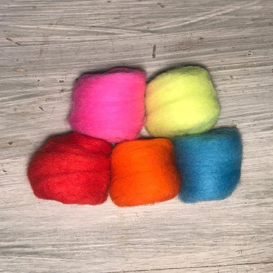 Lã Corriedale para Feltragem - Kit Fluor 5 x 10g