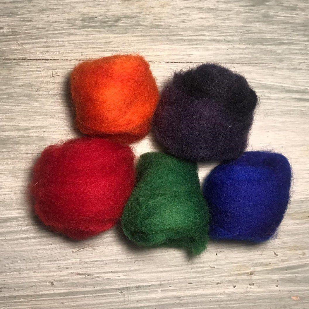 Lã Corriedale para Feltragem - Kit Intenso 5 x 10g