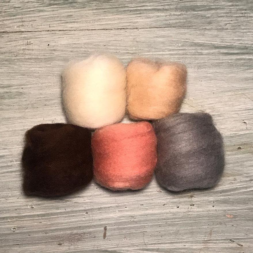 Lã Corriedale para Feltragem - Kit Suave 5 x 10g