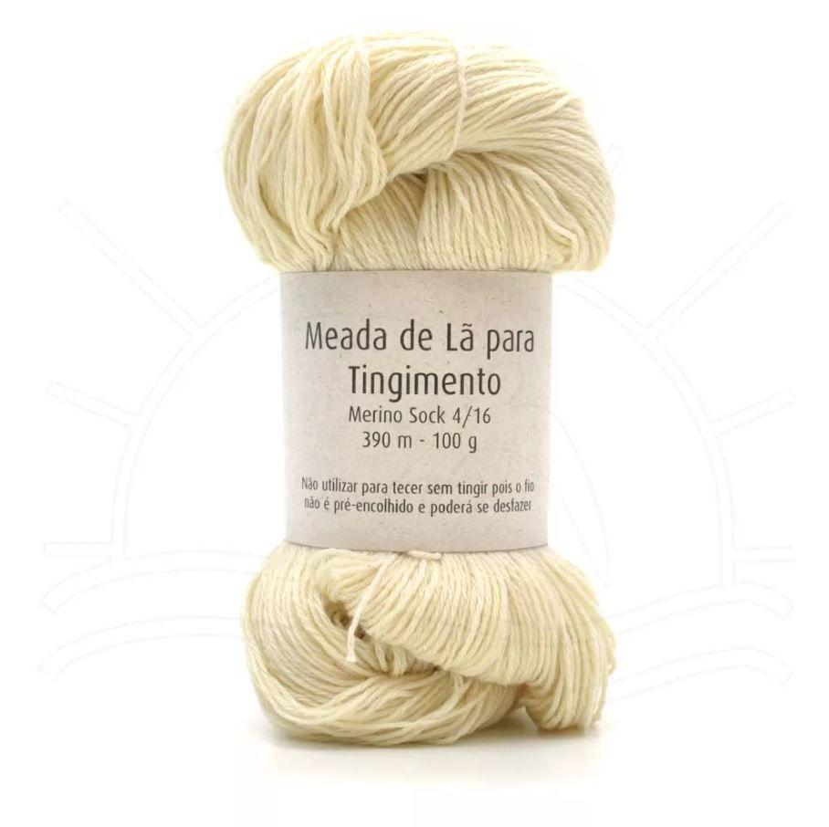 Meada de Lã para Tingimento Merino Sock 4ply - 100g