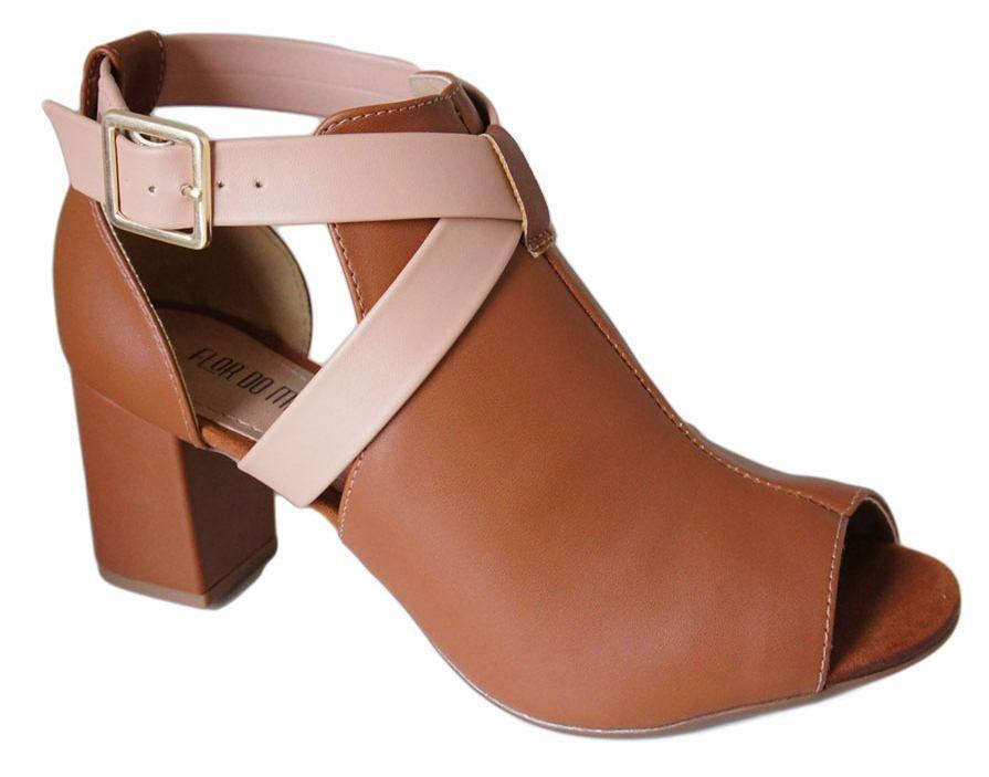 617cda789 Sandalia Flor Do Mar Salto 6,7 Cm Grosso Fechada Ankle - RM750855431 -  Celeste Calçados
