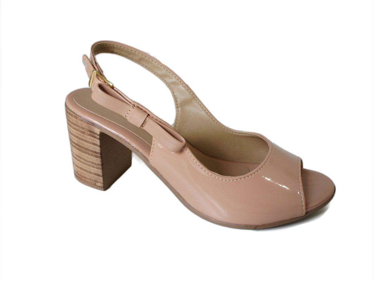 8cfe7b8dbf Sandalia Flor Do Mar Salto 7 Cm Grosso Chanel Laco - LL4158 - Celeste  Calçados