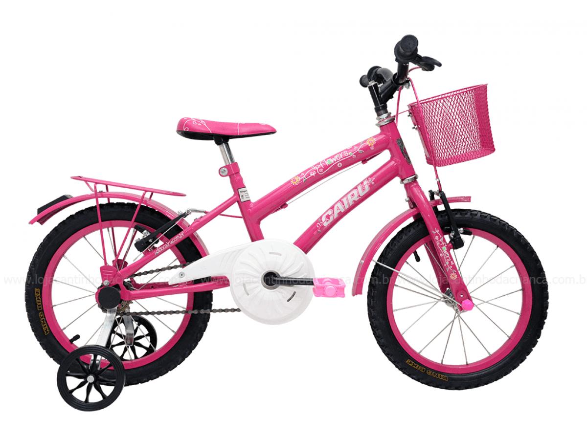 Bicicleta Infantil Aro 16 Cairu Flowers Rosa