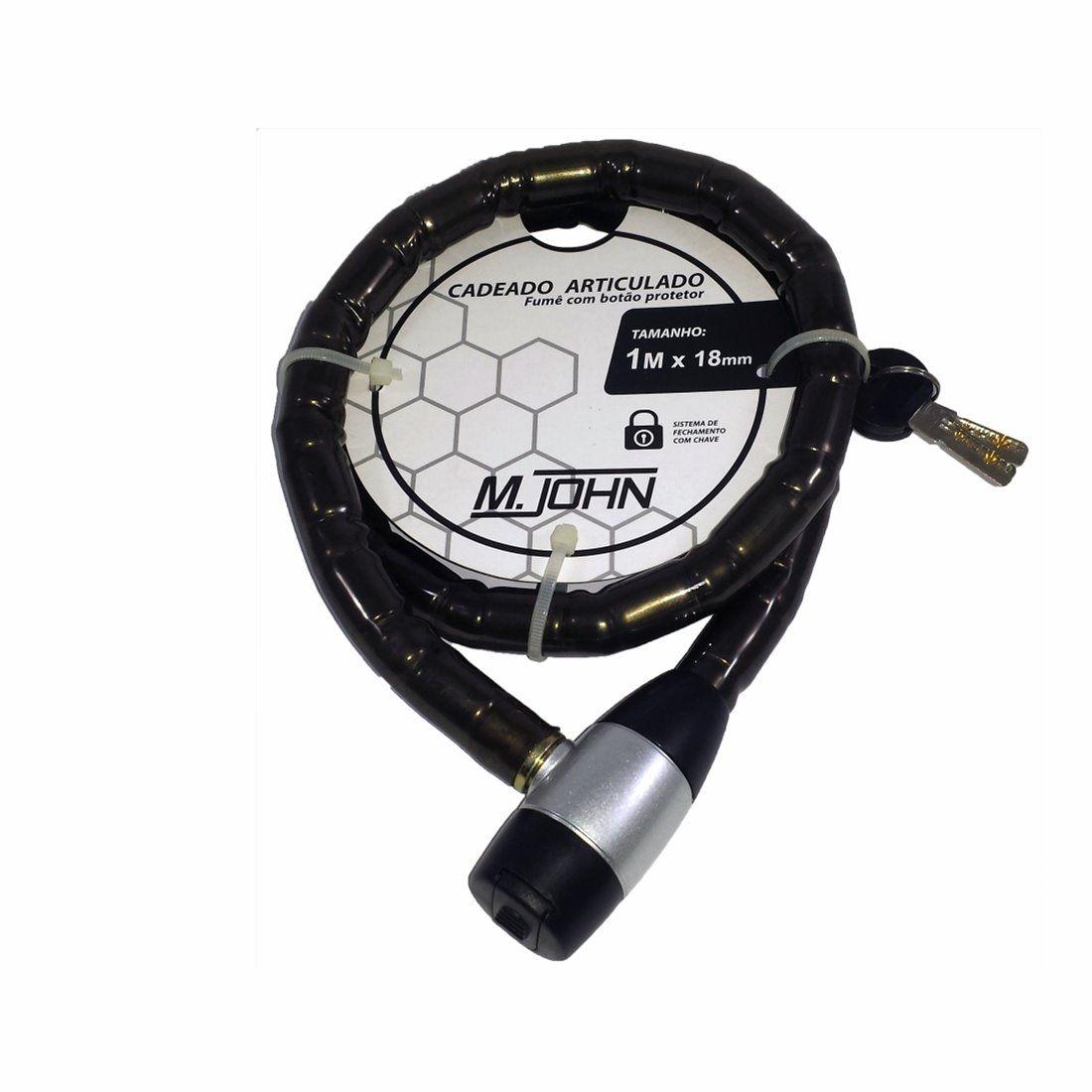 Cadeado Articulado M John 1,5Mx18 c/chave e botão protetor
