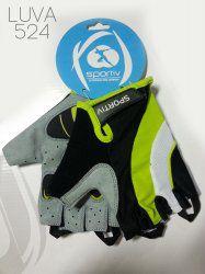 Luva Ciclismo Sportiv Gel 524 Preto/Verde Tm P
