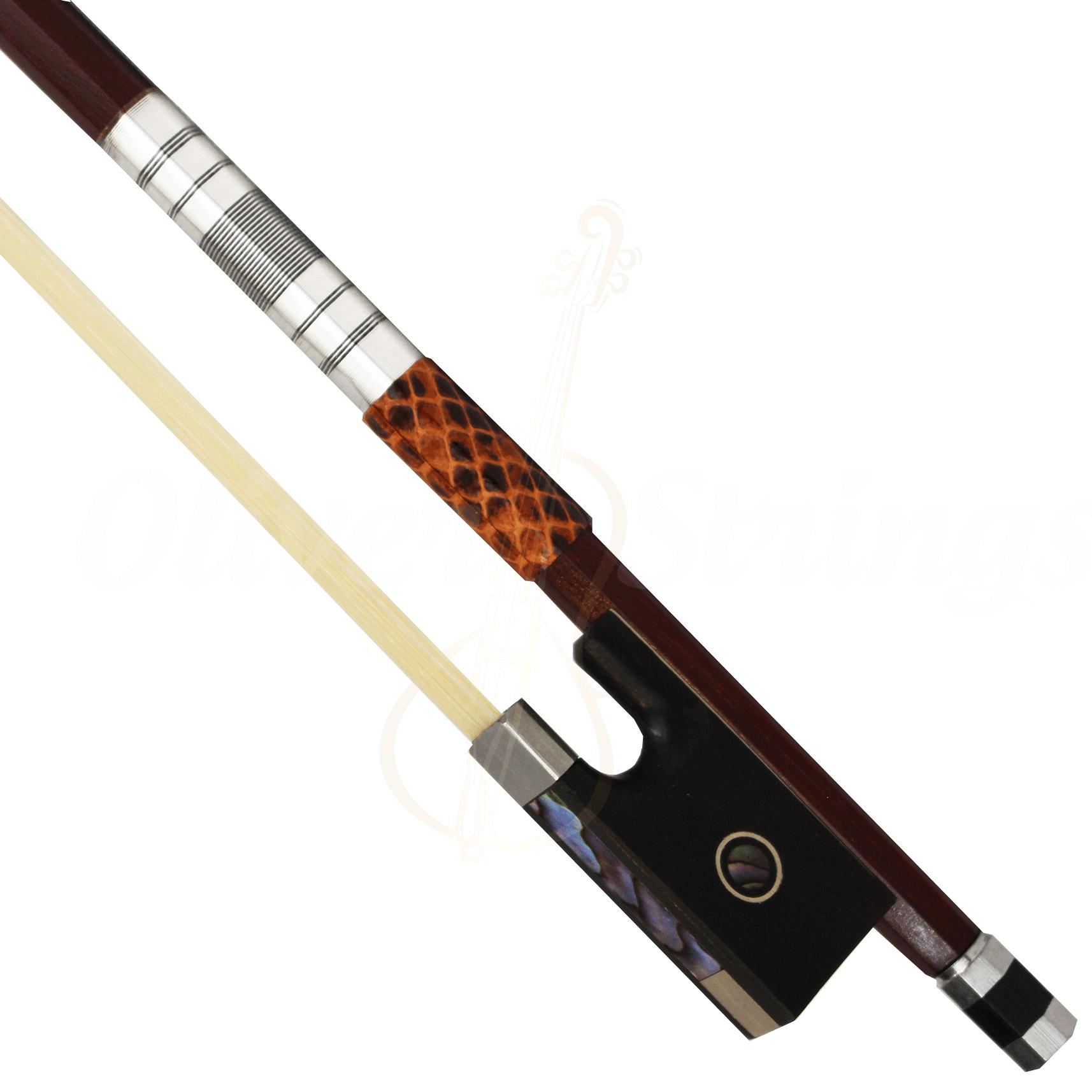 Arco madre pérola com guarnição prateada para violino 4/4