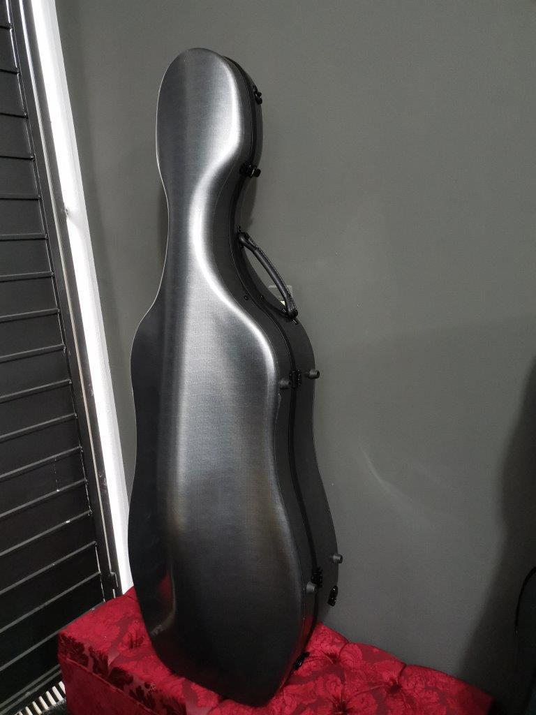 Estojo Case Fibra de vidro Cello Violoncelo 4/4 Orquezz Luxo Cinza Espacial