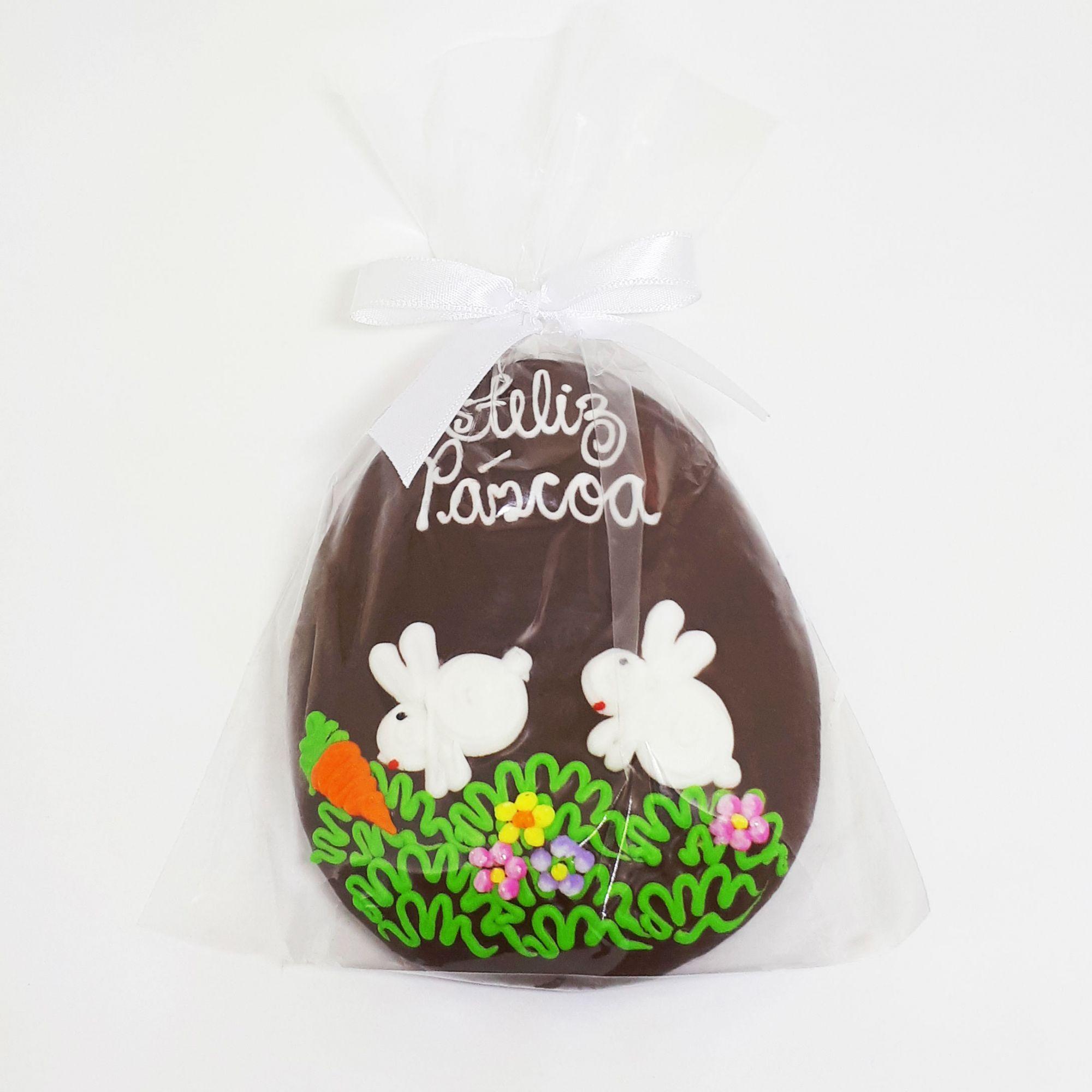 Ovo de Pão de Mel Decorado (Dois coelhos) - 80g