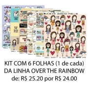 KIT 6 Papéis - linha Over The Rainbow