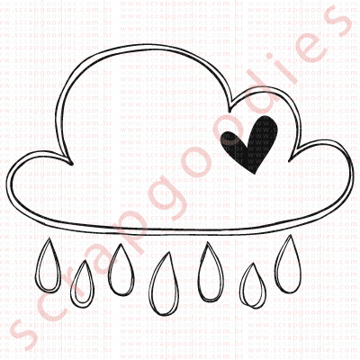 550 - Nuvem chuva com coração  - SCRAP GOODIES