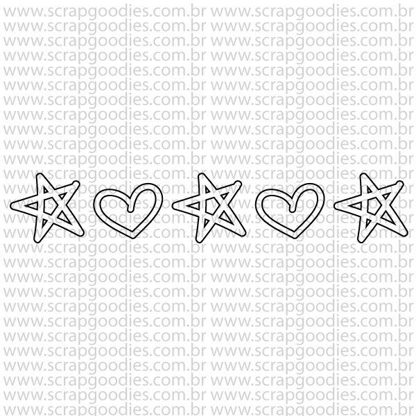 786 - Barrinha estrela / coração  - SCRAP GOODIES