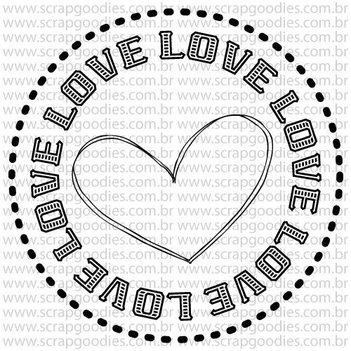 805 - Selo love com coração  - SCRAP GOODIES