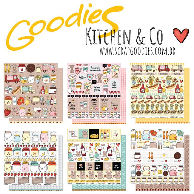 kit 6 Papéis - linha Kitchen & Co  - SCRAP GOODIES